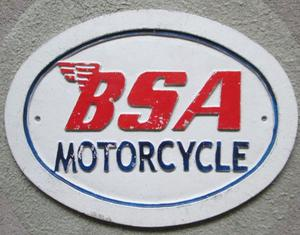 BSA Motorcycle Cast Iron Sign (Incl P&P)