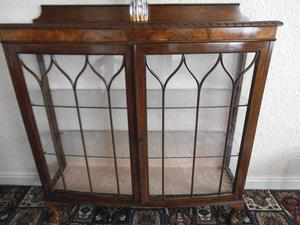 EDWARDIAN WALNUT CIRCA  CHINA DISPLAY CABINET