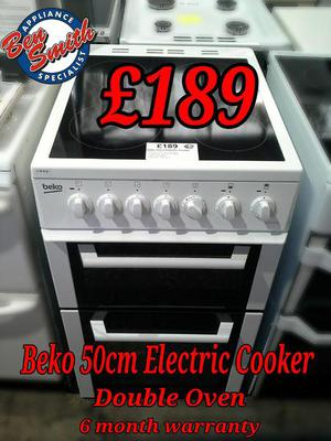 Electric Cooker 50cm White Beko Double Oven