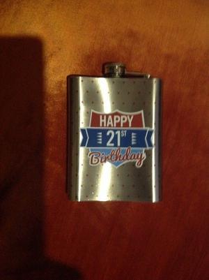 Happy 21st birthday hip flask