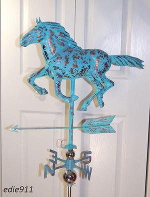 LARGE 3D Running HORSE Weathervane AGED COPPER HANDCRAFTED