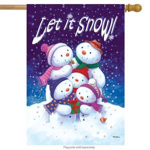 "Let It Snow Snowfamily House Flag Winter Snowman 28"" x 40"""