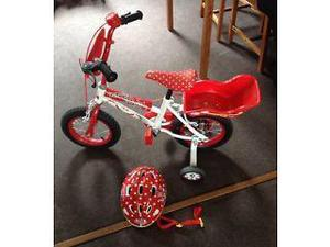 "Minnie Mouse 12"" Bike and Minnie Mouse Bike Helmet cm"