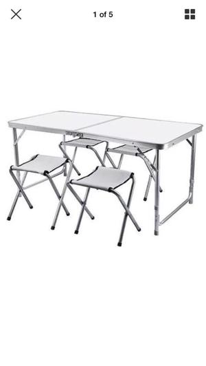 Portable folding camping table chairs stool set