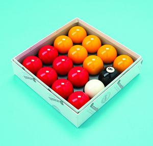 """Red and Yellow 2"""" Aramith Pool Ball Set (1 7/8 Inch Cue"""