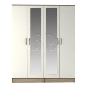 Beatrice 4 door double mirrored wardrobe oak and white