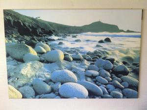 Screen print of Cornwall coastline