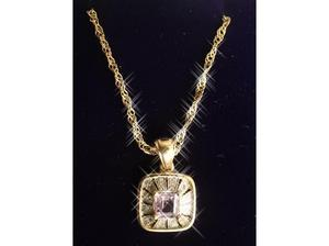 Ladies Jewellery 9ct Gold Diamond & Amethyst Necklace.