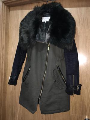 River Island Women's Green Khaki Faux Fur Lined Parka Winter Coat