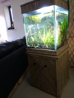 Unique rustic bamboo fish tank and cabinet,