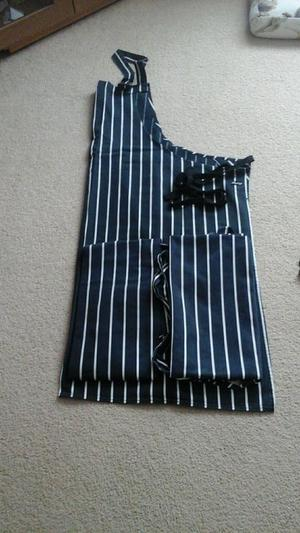 Blue and white striped aprons