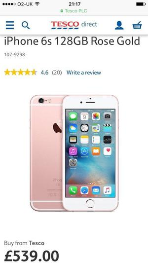 Brand New APPLE iPhone 6s, 128gb, Unlocked. Rose Gold, Fully Boxed. 11 months warrantyI'm