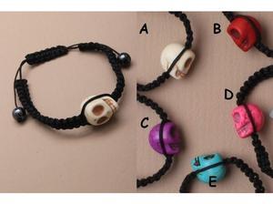 Black corded adjustable bracelet with skull bead. - JTY106