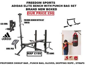ADIDAS MULTI BENCH AND 2FT PROPOWER PUNCH SET AND CHIN UP BAR BRAND NEW BOXED