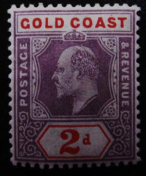 Edward VII Gold Coast 2d mint SG51 stamp