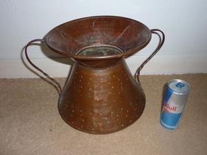 Large Vintage Handcrafted Hammered Copper Pot/ Vase