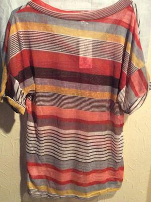 NEW, LADIES MEANEOR TOP. STRIPED, V.NECK, SHORT SLEEVES