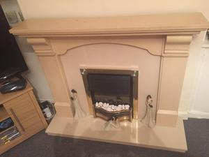 Fireplace with Stone Backplate and stone Hearthstone