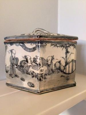 Grey and White Chinese Tea Caddy.