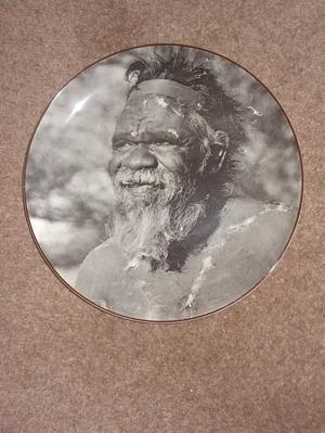 A ROYAL DOULTON AUSTRALIAN ABORIGINE PLATE