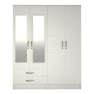 Beatrice 4 door 2 drawer mirrored wardrobe white effect