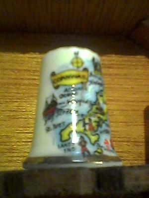 MAP OF CORNWALL collectable thimble