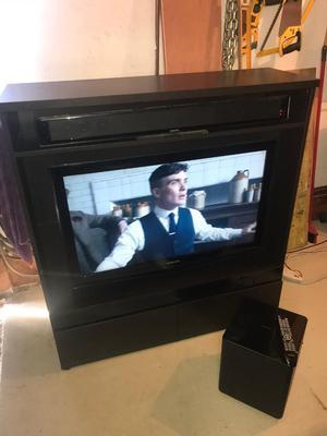 """Samsung 40"""" TV, Samsung Sound Bar & Wireless Subwoofer in 2 drawered TV unit."""