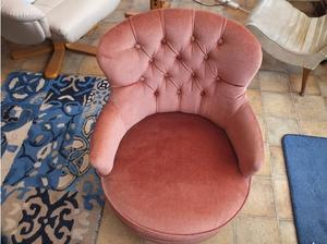A pink material finished bedroom chair. COLLECTION ONLY. in