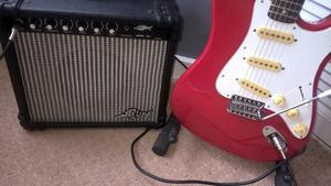 Hondo H76 elec guitar, amp lead and stand
