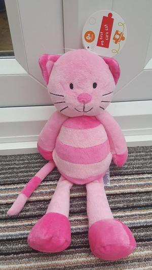 M&S Marks and Spencer pink striped cara cat soft toy approx