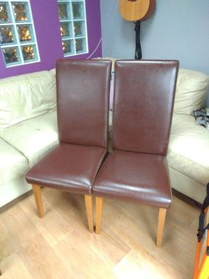 Set of 4 dining chairs, brown, leather look.