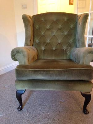 Wing armchair olive green