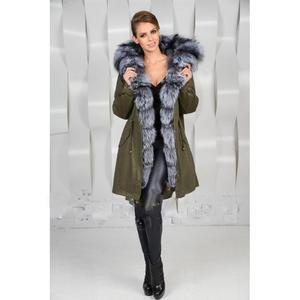 Military green jacket/coat/parka, real silver fox fur hood