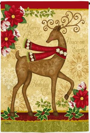 NEW EVERGREEN DOUBLE-SIDED GARDEN FLAG PEACE ON EARTH DEER &
