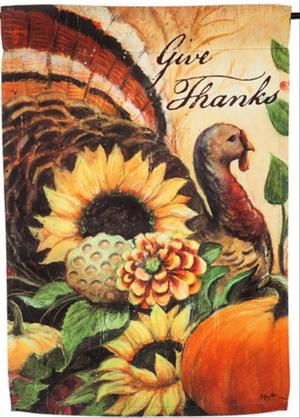 NEW EVERGREEN SUEDE THANKSGIVING GARDEN FLAG GIVE THANKS