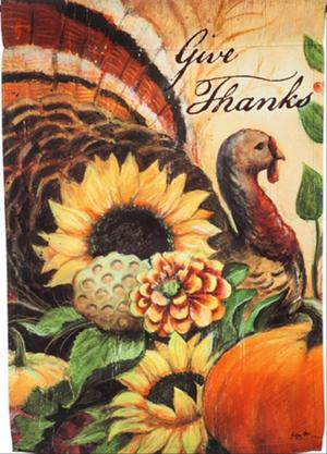 NEW EVERGREEN THANKSGIVING DOUBLE-SIDED GARDEN FLAG WOODLAND