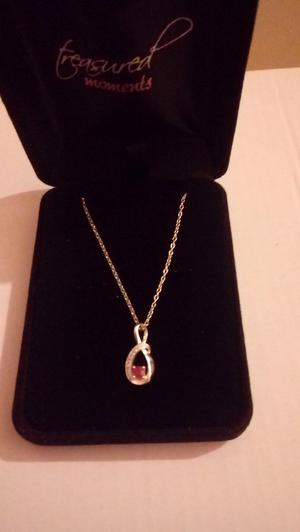 Silver ruby pendant and chain
