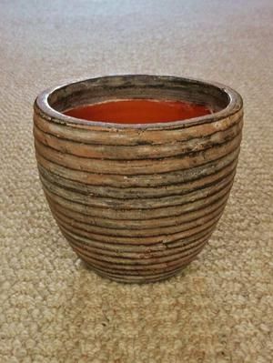 Brown Ribbed Pottery Indoor Flower Plant Pot Planter