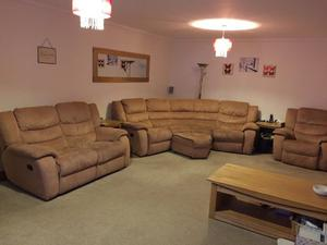Corner sofa, 2 seater sofa, armchair & footstool from DFS