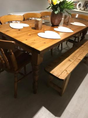 Large Farmhouse dining table 5 chairs and bench 8 10 Seater
