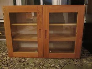 Pine display cabinet, suitable for wall hanging, with glass doors & 2 shelves each side