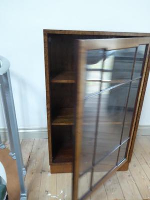 Small hardwood veneered art deco display cabinet with 2 adju