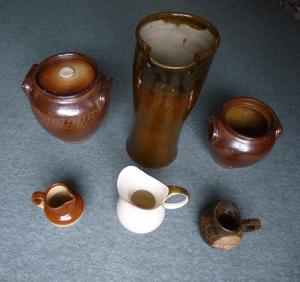 Antique Crown Devon Fielding Jug, Stoneware Jugs, Rustic Brown Stoneware Pots & wooden jug