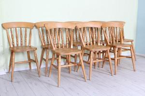 DELIVERY OPTIONS - 8 X SOLID BEECH FARMHOUSE CHAIRS RUSTIC