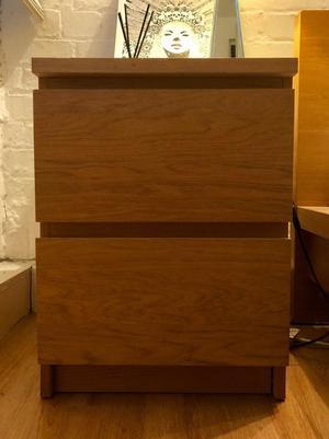 IKEA Malm bedside table / chest of drawers - Oak Veneer