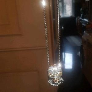 Iced out silver pendant cuban link chain balaclava