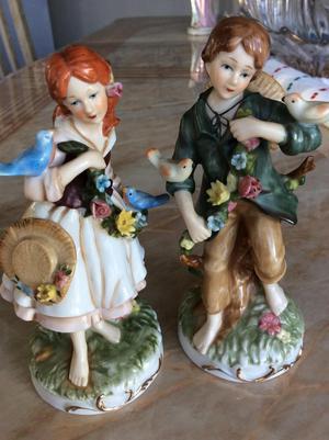 Pair of antique porceline figurines