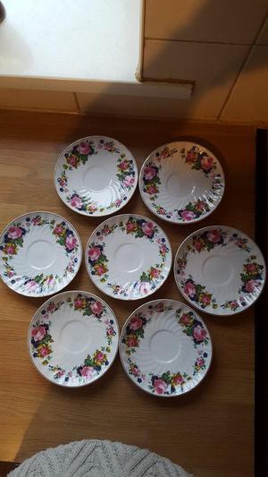 "Royal Norfolk ""Pink Roses"" Swirl gold Trim Saucers x 7"
