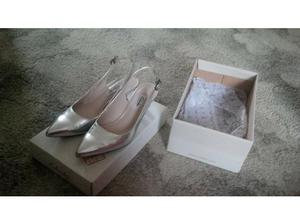 Silver Clarks Sling Backs - hardly worn in Chelmsford