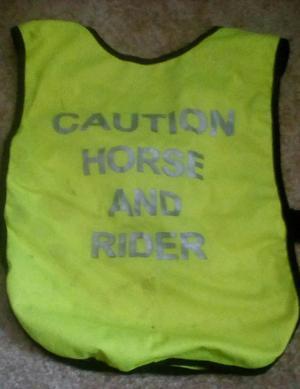 Caution horse and rider caution young horse hi viz vests
